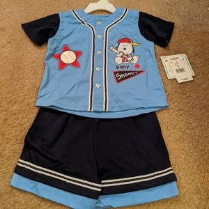 Baby Snoopy baseball outfit. NWT.